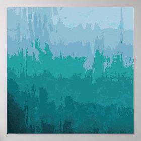 Aqua Blue Green Color Mix Ombre Grunge Design Poster