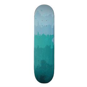 Aqua Blue Green Color Mix Ombre Grunge Design Skate Decks