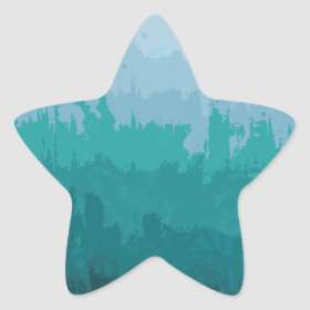 Aqua Blue Green Color Mix Ombre Grunge Design Sticker