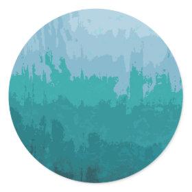 Aqua Blue Green Color Mix Ombre Grunge Design Round Sticker