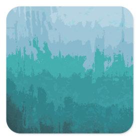 Aqua Blue Green Color Mix Ombre Grunge Design Square Sticker