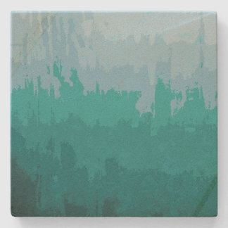 Aqua Blue Green Color Mix Ombre Grunge Design Stone Coaster