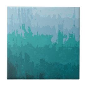 Aqua Blue Green Color Mix Ombre Grunge Design Tile