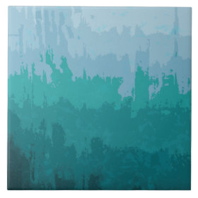 Aqua Blue Green Color Mix Ombre Grunge Design Ceramic Tiles