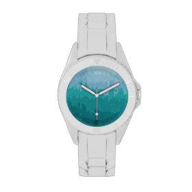 Aqua Blue Green Color Mix Ombre Grunge Design Wrist Watch