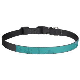 Aqua Blue Green Color Mix Ombre Grunge Design Dog Collar