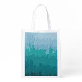 Aqua Blue Green Color Mix Ombre Grunge Design Market Totes
