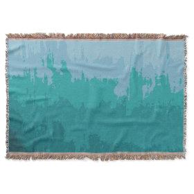 Aqua Blue Green Color Mix Ombre Grunge Design Throw Blanket