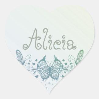 Aqua Blue Green Delicate Butterfly Heart Sticker