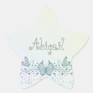 Aqua Blue Green Delicate Butterfly Star Sticker