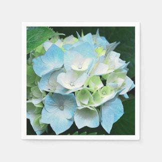 Aqua Blue & Green Floral Hydrangea Paper Napkins