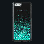 "Aqua Blue Green Glitter Black Trendy Chic OtterBox iPhone 6/6s Case<br><div class=""desc"">Girly-Girl-Graphics at Zazzle: Cool Classy Unique Customizable Aqua Teal Blue Green Glitter Sophisticated Modern Women&#39;s Stylish Fun Fashion Accessories Black OtterBox Symmetry Series Apple iPhone 6 / 6s Case to Personalize your Beautiful Name features a Trendy Chic Design and makes a Lovely Birthday, Christmas, Wedding, Graduation, or Any Day Gift...</div>"