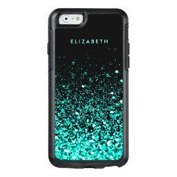 Aqua Blue Green Glitter Black Trendy Chic OtterBox iPhone 6/6s Case