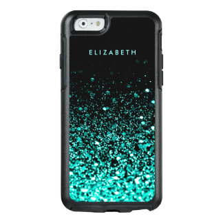 Aqua Blue Green Glitter Black Trendy Chic OtterBox iPhone 6/6s Case