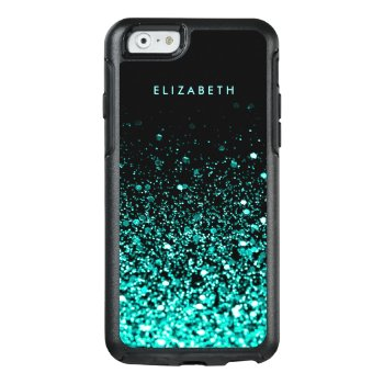 Aqua Blue Green Glitter Black Trendy Chic Otterbox Iphone 6/6s Case by girlygirlgraphics at Zazzle
