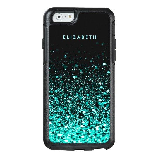 the latest 041a5 7445d Aqua Blue Green Glitter Black Trendy Chic OtterBox iPhone Case