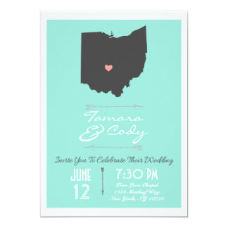 Aqua Blue Green Ohio State Wedding Invitation