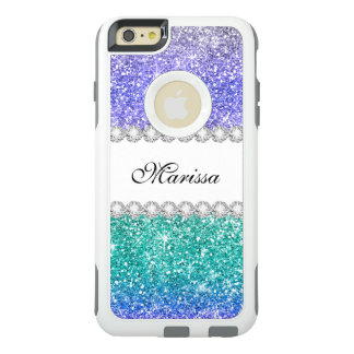 Aqua Blue Green Purple Stylish Glitter Sparkles OtterBox iPhone 6/6s Plus Case