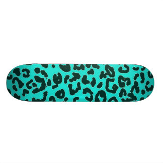 Aqua Blue-Green, Turquoise Leopard Animal Print Skateboard