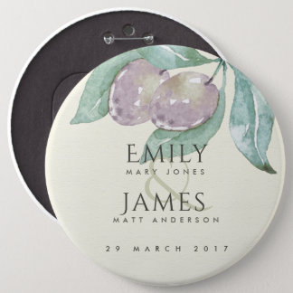 AQUA BLUE GREEN WATERCOLOUR FOLIAGE OLIVE WEDDING PINBACK BUTTON