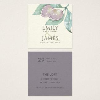 AQUA BLUE GREEN WATERCOLOUR FOLIAGE OLIVE WEDDING SQUARE BUSINESS CARD