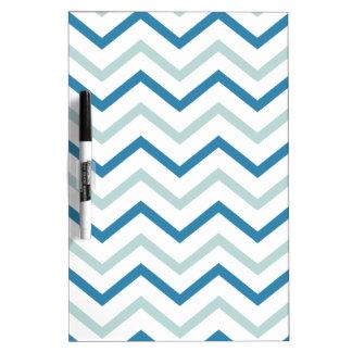 Aqua Blue Grey Chevron Dry-Erase Board
