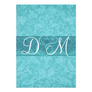 Aqua Blue Grunge Damask Wedding Invitation