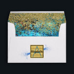 """Aqua Blue Grunge Faux Gold Glitter Monogrammed Envelope<br><div class=""""desc"""">Aqua Blue Grunge Faux Gold Glitter Monogrammed and Personalized Special Occasion Envelopes.  Easy To Change The Monogram Initial and Name To Your Own. Click Customize To Change The Font Type,  Font Color,  Font Size,  Or To Add/Change/Delete The Text Or Design Elements.</div>"""