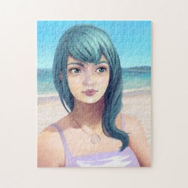 Aqua Aqua - Blue Haired Girl on Beach Jigsaw Puzzle