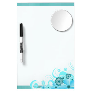 Aqua Blue Hibiscus Dry-Erase Board 12x8 w/ Mirror