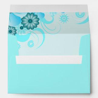 Aqua Blue Hibiscus Floral Elegant Custom Envelopes Envelope