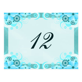 Aqua Blue Hibiscus Floral Table Number Cards