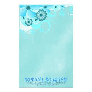 Aqua Blue Hibiscus Florist Stationery Paper Stationery Paper