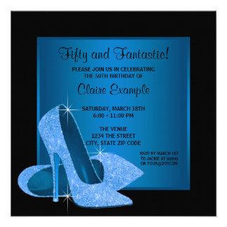 Aqua Blue High Heels Womans Birthday Party Personalized Invitation