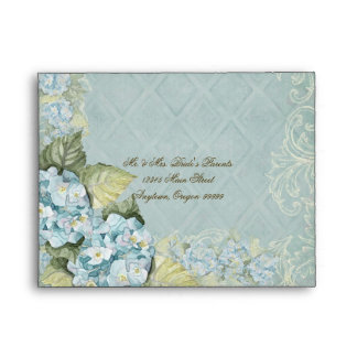 Aqua Blue Hydrangea Swirl Floral Flower Wedding Envelope