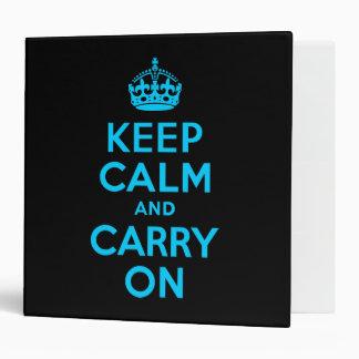 Aqua Blue Keep Calm and Carry On Binders