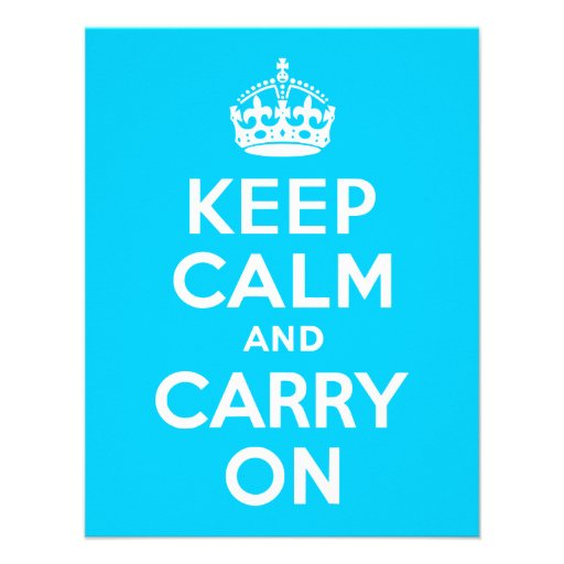 Aqua Blue Keep Calm and Carry On Personalized Invites
