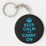 Aqua Blue Keep Calm and Carry On Keychains