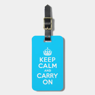 Aqua Blue Keep Calm and Carry On Luggage Tag