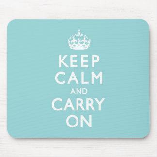 Aqua Blue Keep Calm and Carry On Mouse Pad