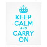 Aqua Blue Keep Calm and Carry On Photo Print