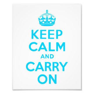 Aqua Blue Keep Calm and Carry On Photographic Print