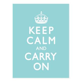 Aqua Blue Keep Calm and Carry On Postcard