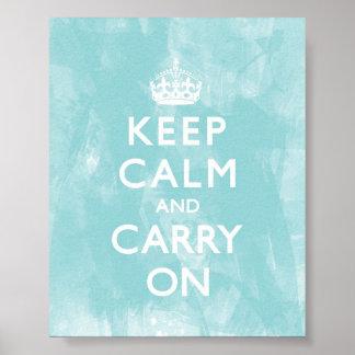 Aqua Blue Keep Calm and Carry On Print
