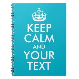 Aqua Blue Keep Calm and Your Text Spiral Notebooks