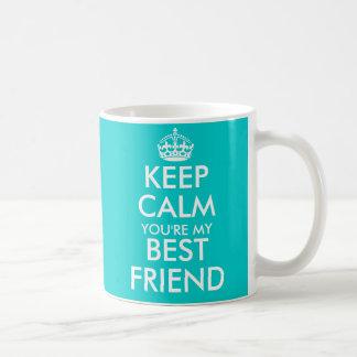 Aqua blue Keep Calm friendship mug for best friend