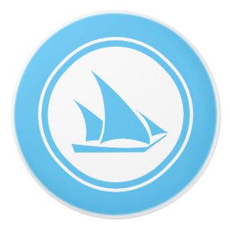 Aqua Blue Ketch Boat Nautical ceramic knob