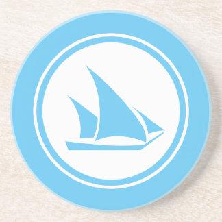 Aqua Blue Ketch Sailboat Nautical coaster