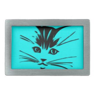 Aqua Blue Kitty Cat Face Rectangular Belt Buckles