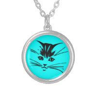 Aqua Blue Kitty Cat Face Round Pendant Necklace